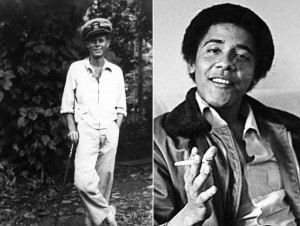 Presidents in Uniform: Kennedy recovering from wounds during WWII; Obama wearing an über-hip Bomber Jacket.