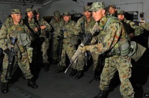 Japan's fledgling Marines train with the Yank counterparts.