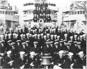 Officers and crew of the Patterson on her commissioning in 1936.