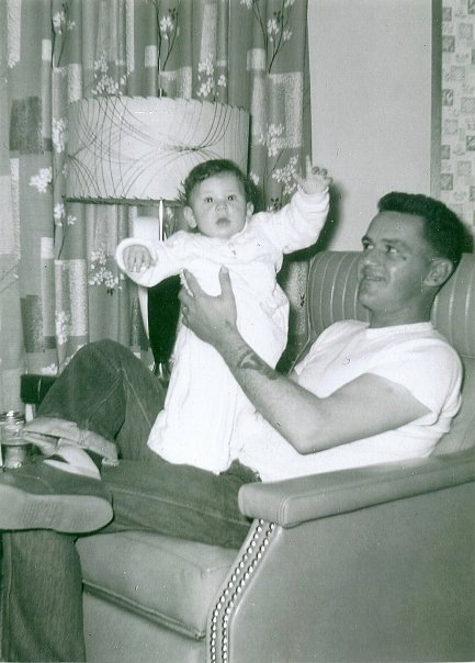 ABF1 Paul Whiteman (USN) with his newborn son, Timothy Kevin - 1959.