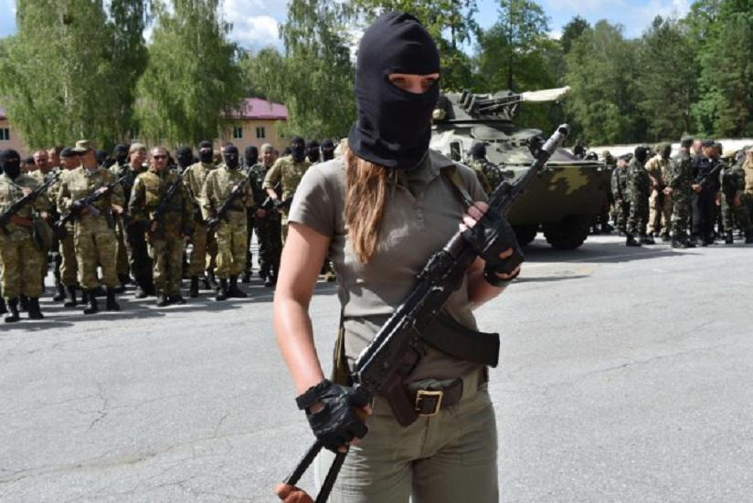 Ukrainian volunteers swear to defend their nation.