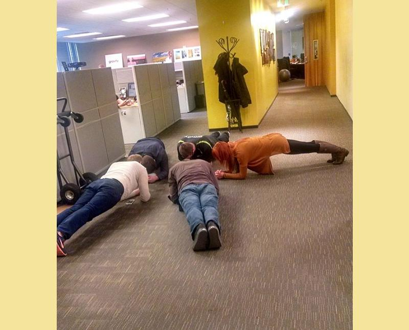 "Gravity's Facebook site - ""We're always trying to promote healthy choices in our workplace and it looks like some of our department's have turned their daily huddles into an opportunity to get some exercise in!"""