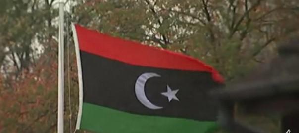 Libyan flag flies high over British soil.