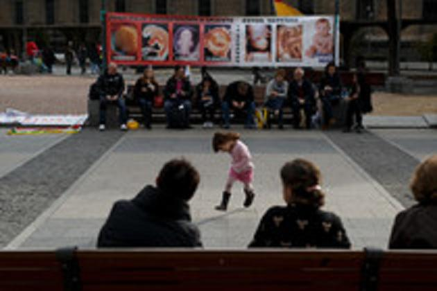 A girl plays at a pro-life rally under the slogan 'Every life matters' on November 22, 2014 in Madrid, Spain. Thousands of people from around Spain gathered in Madrid to protest against abortion.