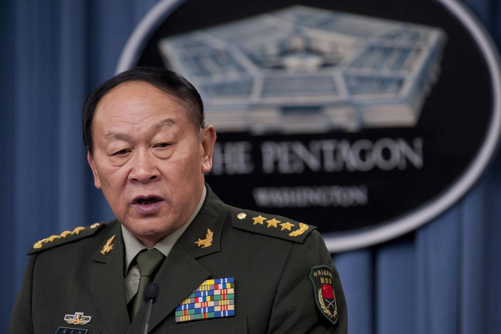 China's Minister of National Defense, Gen. Liang Guanglie during a press conference with former Secretary of Defense Leon E. Panetta in the Pentagon on May 7, 2012.