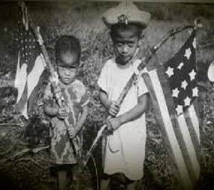 Post Liberation: For the high crime of having even a home-made American flag, the entire family would have been executed by the Japanese.