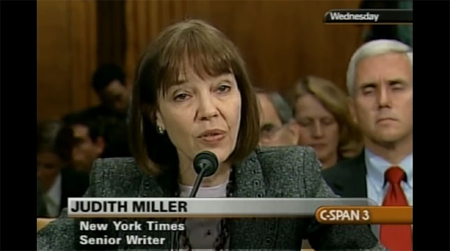Judy Miller testifying before Congress. Supporter Rep. Pence bihind her.