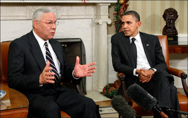 Colin Powell with his BFF Barry. (Photo Pinterest.)
