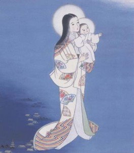 The Blessed Virgin Mary carrying the Christ Child, painted in Japanese traditional art-style.