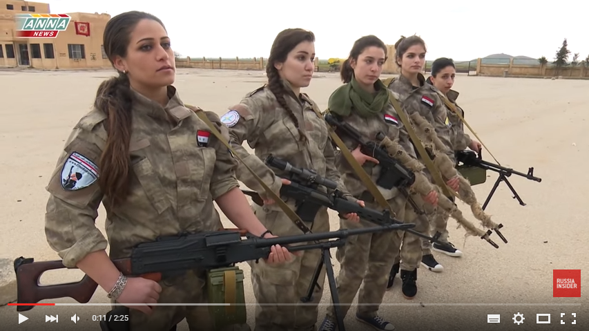 Christian women and girls in Syria mobilise to defend their village (Photo: Youtube).