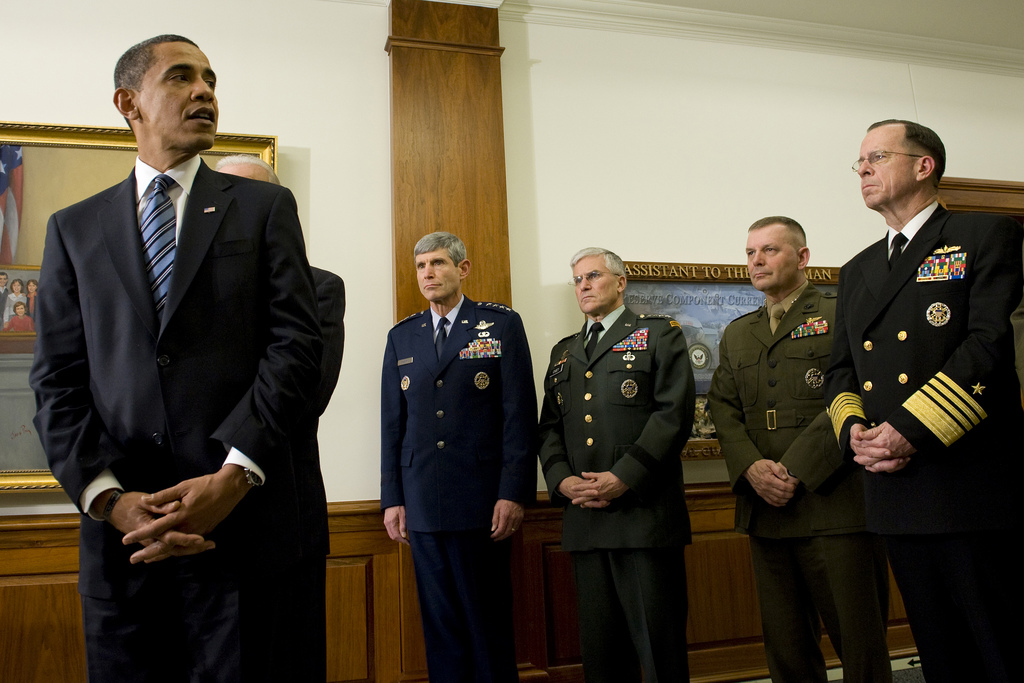 "Obama with one of his ""favorites"" - General Cartwright, 2d from right. (Flickr)"