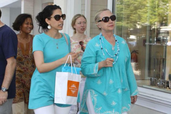 With Chelsea taking a backseat, Huma and Hillary out and about. (Twitter)