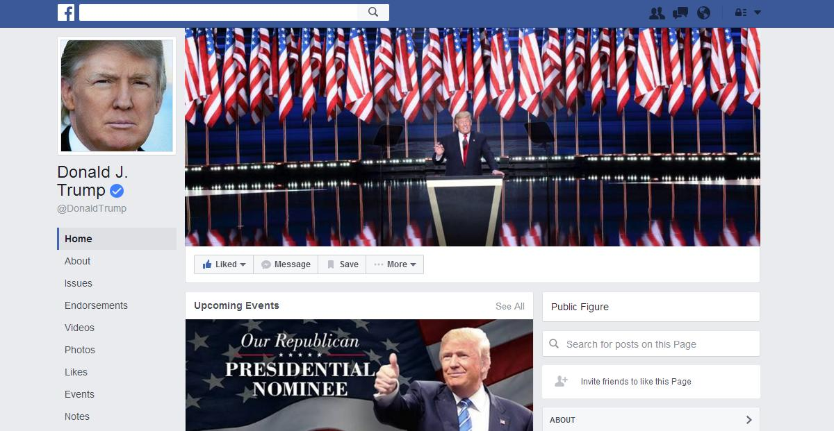 Official Facebook site for Donald Trump.
