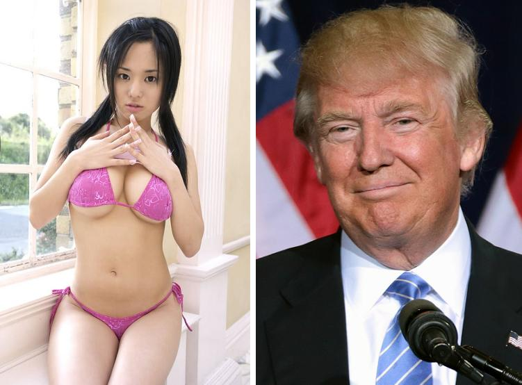 Make China Great Again. Japanese porn star Sola Aoi and Donald Trump voted for in Chinese elections. (Twitter, Wikipedia)