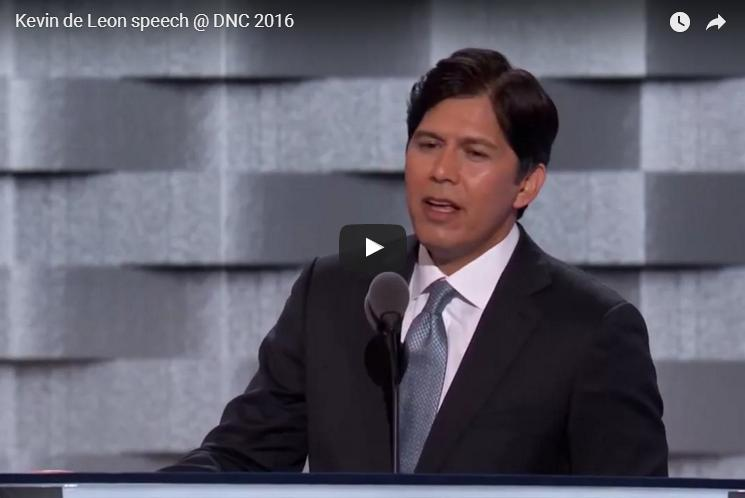 California State Senate leader Kevin de León perpetuates the big lie. (Youtube)