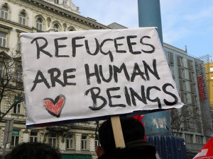 """Refugee Solidarity"" march held in Germany. (Wiki)"