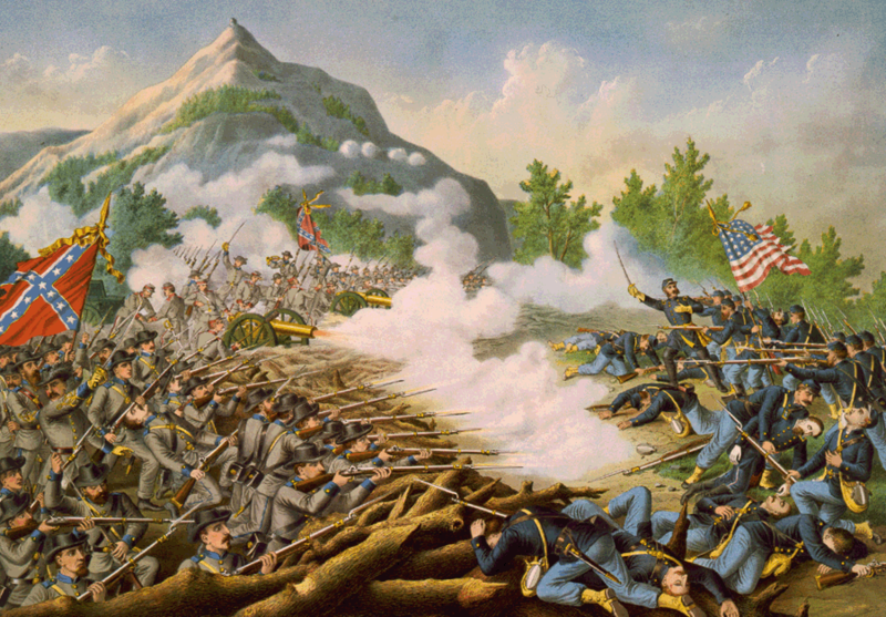 Brother against brother: Confederate and Federal troops in action. (Wiki)