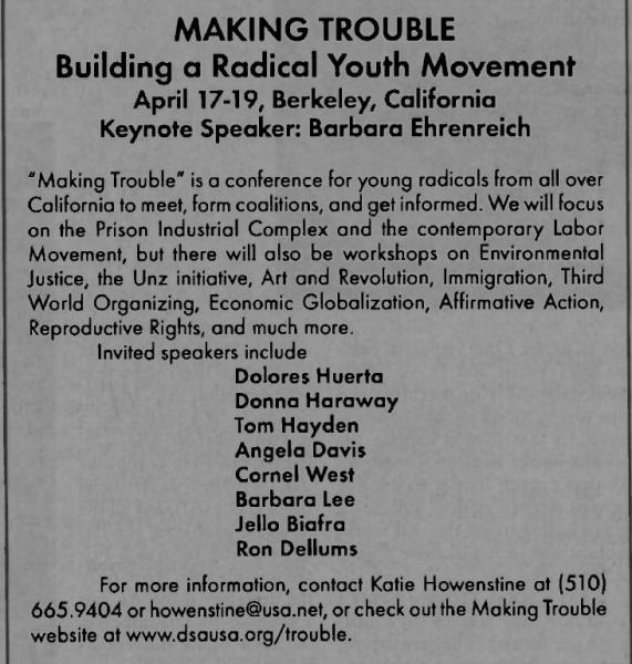"Lee appearing at the ""Making Trouble"" rally along with Jello Biafra and a slew of other communist sympathizers."