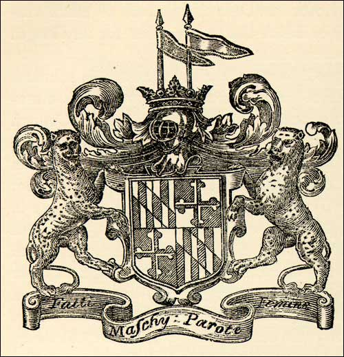 The coat of arms of The Right Honourable George Calvert, The Lord Baltimore. (ca.gov)