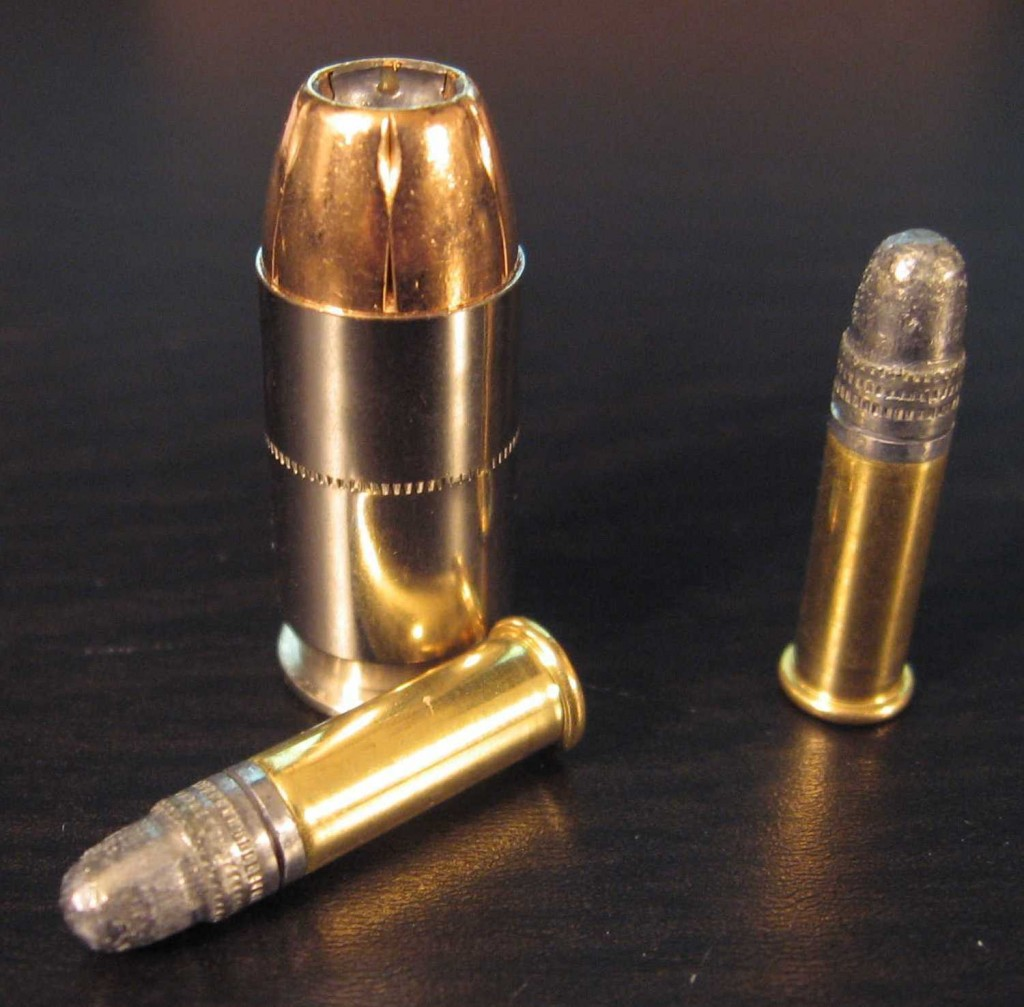 A .45 round compared to a couple of .22 rounds.