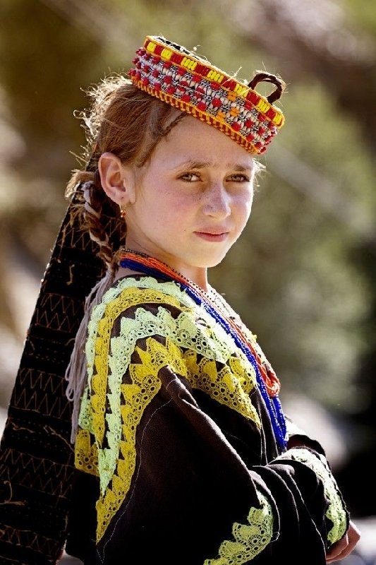 A Kalosh child whose people live in northern Pakistan/northern India.