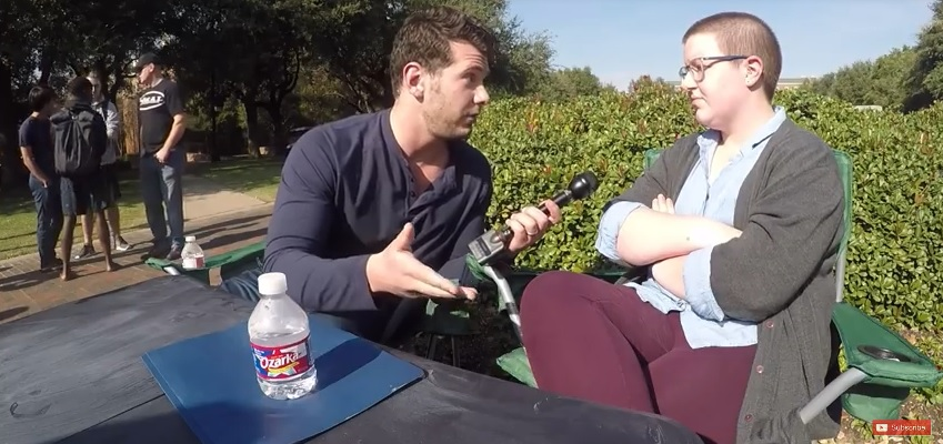 A very open Steven Crowder attempts to dialogue with a very closed lesbian.