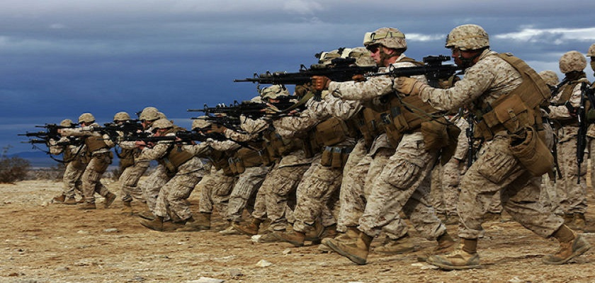 """Marines practising the """"mad minute"""" in Norway."""